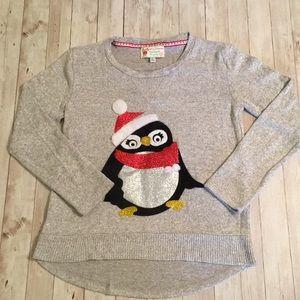 Poof! Girls Holiday Glitter Penguin Sweater Sz L